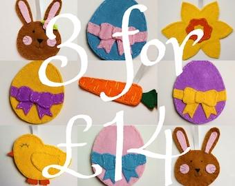 Felt Easter decoration set, Easter tree decorations, Easter ornaments, Easter decorations, Easter bunny decoration, Easter Egg decorations