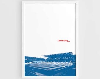 Cardiff City FC, Cardiff City Stadium Football Poster - A3 Wall Art Print Poster, Minimalist Poster, Football Poster, Soccer Poster