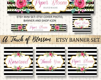 Etsy Banner Peonies Floral Rustic Flowers Black Gold Watercolor Facebook Business Card Website Shop