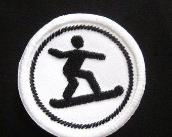 "Snowboarding Meritt Badge Black 2"" Iron or Sew On Patch"