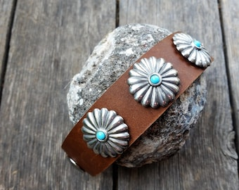 Southwest Leather Cuff, Leather Cuff with Conchos, Western Leather Cuff, Brown Leather Wristband, Cowgirl Wristband