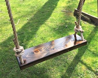 Rectangle Natural Wood Cedar Swing | Wooden Tree Swing | Outdoor Wooden  Swing | Outdoor Kids