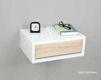 Contemporary Nightstand, Floating Nightstand, Side Table, Bedside Table, Wall Mount Night Stand with a Door