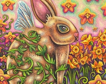 "Spring Soul - an 8 x 10"" ART PRINT of a sweet solitary rabbit sitting hidden in a garden of green twisting vines and bright orange flowers"