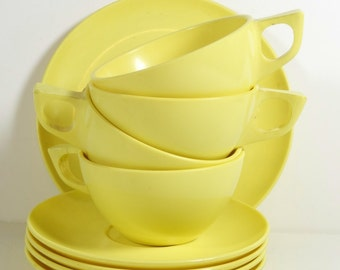 9 Piece Set of Vintage Marcrest Melmac Yellow Melamine