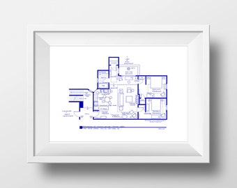 Friends TV Show - Apartment Floor Plan Poster - BluePrint for Residence of Monica Geller and Rachel Green **Featured on NBC's Today Show