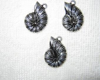 Detash 3 Silvertone Chambered Nautilus Charms