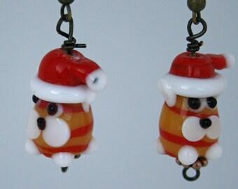 Santa Puppy Earrings