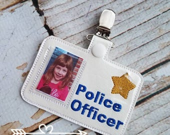 Pretend Play Police Officer Name Badge - Handmade Child Gift Preschool Educational Imagination Reusable