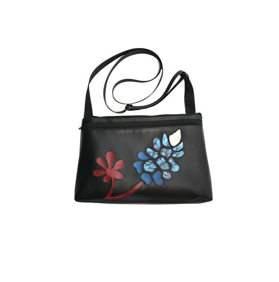 Bluebonnet, wildflower, Texas, black vinyl, red stem, medium crossbody, vegan leather, zipper top