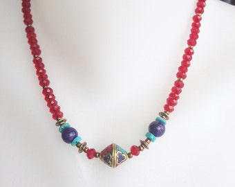 Beaded necklace Mixed beads necklace Ethnic necklace