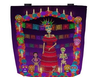 Purple Ómbre Day of the Dead (Dia de los Muertos) Every Day Use Tote Bag