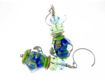 Handmade Lampwork Earrings, Handmade Glass Bead Earrings, Green Blue Dangle Earrings, Lampwork Jewelry, Statement Earrings, Drop Earrings