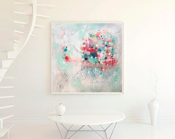 Acrylic abstract painting giclee print, teal wall art, large abstract giclee, large painting, fine art print