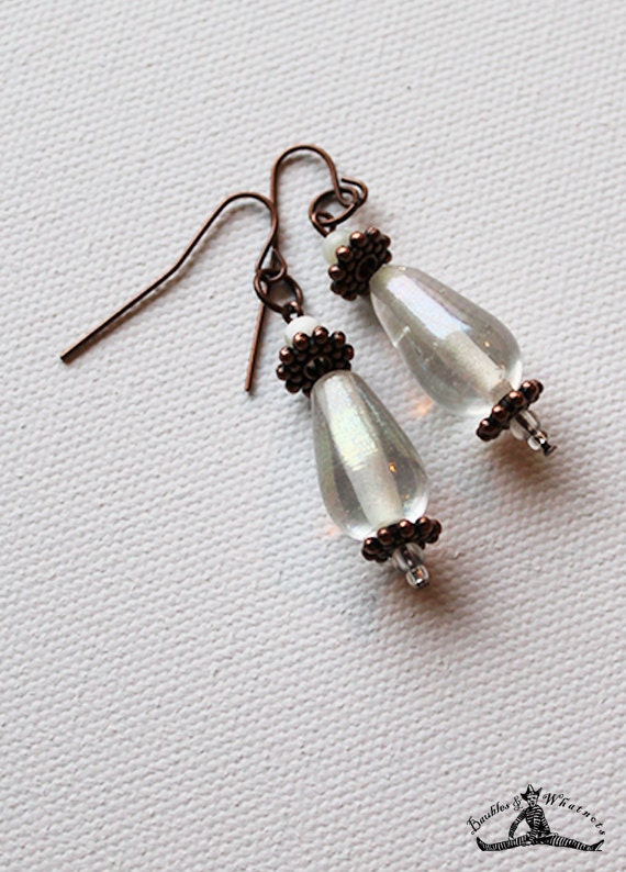 Romantic Clear Glass Earrings  - Boho Chic - Dangle Dearrings - OOAK