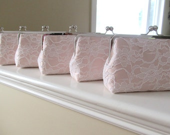 SALE 20% OFF Bridal Silk And Lace Clutch Set Of 6,Blush Wedding Clutch,Bridesmaid Clutches,Bridal Accessories