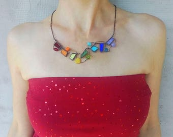 Wearable art, stained glass necklace, extravagant necklace, wire jewelry, statement jewelry, gift for women, multicolored, artistic necklace