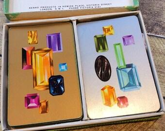 Jewellery cards, vintage jewellery holder, vintage playing cards, Piatnik Jewels deck of cards, jewellery display card, scrapbooking, 1960s