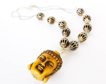 Clearance sale Ancient Buddha gold black beaded statement necklace LAST ONE