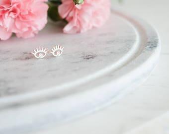 Iris Evil Eye Sterling Silver Earrings  | Unique Good Luck Charm Eye Earring | 925 Silver Hypoallergenic 100% Sterling Silver