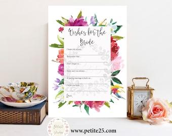 Instant Download- Wishes for the bride, Wedding shower game, bridal shower game, watercolor florals, printable game card, floral frame