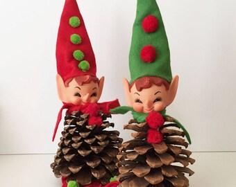 Vintage Pine Cone Pixie Elves Restored, Christmas Decorations, Christmas Elf, Christmas Pixie, Holiday Table, Vintage Pixie 17-40