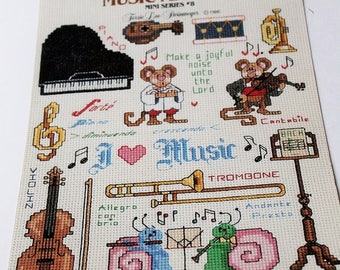 Leisure arts Music Makers Cross stitch leaflet-Leaflet 477 Mini series #8-Music cross stitch chart-Sewing patterns-1986 cross stitch book