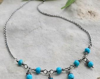 Turquoise Anklet, Silver Turquoise Ankle Bracelet, Blue Gemstone Dangle Anklet, Boho Gift for Her