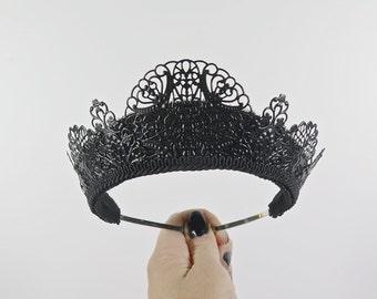 Svetlana Filigree Black Tiara - by Loschy Designs