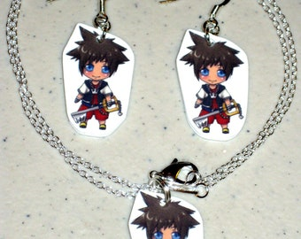 Sora - Kingdom Hearts - Necklace and Earring Set, Keychain, Cell Phone Charm, Stickers, Tattoos, Embroidered Patch, Magnets