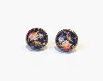 Black Floral Earrings, Floral Print studs,Floral Earrings, Floral Stud Earrings, hypoallergenic studs, 12mm studs, stainless steel studs