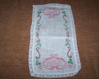 Vintage, Farmhouse, Retro Hand Embroidery , Crochet Edge Small Retangle Cotton  Doily