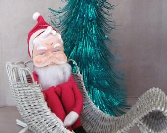 Vintage Christmas Decoration, 1960s Knee Hugger Santa Claus Knee Hugger, Japan Ornament, 1960's Christmas Ornament, Christmas Decor