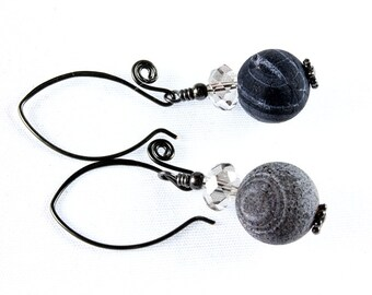Gray Frosted Agate Earrings, Gunmetal