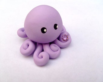 Birthstone  Little Octopus Mini Marble Friend in Birthday Month of June Alexandrite Lavender with Faux Gemstone