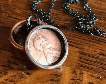 Custom State quarter, penny insert necklace pendant.