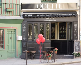 Red Balloons in Paris, Parisian Bike, Paris Photography, Odette, Patisserie,  French Home Decor, Red, Latin Quarter Paris