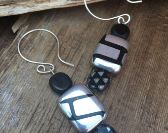 black silver geometric modern earrings, Mother's Day gift, gift for her, contemporary black silver earrings, modern earrings, artisan