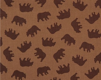 210989 brown with dark brown bear fabric by Michael Miller Little Bears