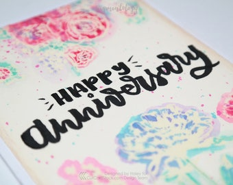 Happy Anniversary - Clear Embossed Bright Floral Watercolor Greeting Card