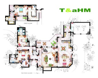 Floorplan of Charlie Harper's Malibu house from T&AHM