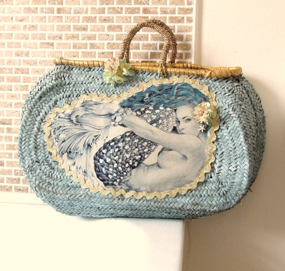 Mermaid oval straw basket  Oval basket  Pin up mermaid embellished straw bag  Duck egg blue oval straw basket decorated
