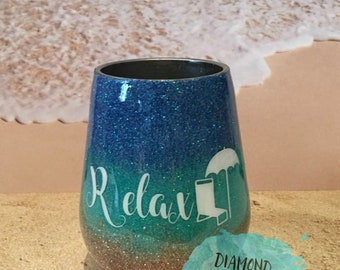 Beach wine tumbler