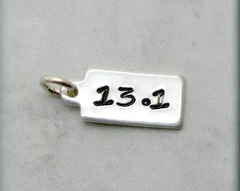 Tiny 13.1 Charm, Sterling Silver, Runners Jewelry, Running Charm, Distance Charm, Add On for Bracelet, Handstamped, Race, Sport