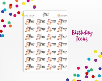 Planner Sticker Icons- Birthday Icons, Cake, Celebrate