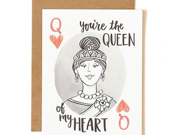 You're the Queen of My Heart Illustrated Card // 1canoe2