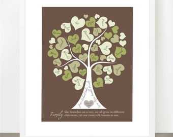Family Tree Personalized with your Loved Ones, Names in Hearts as Leaves, Pick Your Own Colors, 8x10 print
