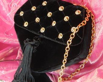 Black Velvet Tassled Shoulder Evening Purse