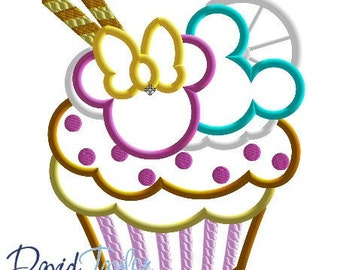 Mickey and Minnie Cupcake Embroidery Design 4x4, 5x7, 6x10 in 9 formats-Applique Instant Download-David Taylor Digitizing