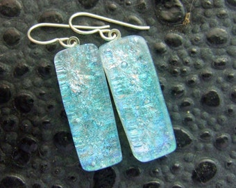 Aqua Sparkle Dangles, Fused Glass Jewelry Handmade in NC